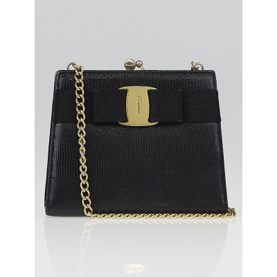 Salvatore Ferragamo Black Embossed Leather Mini Vara Chain Bag