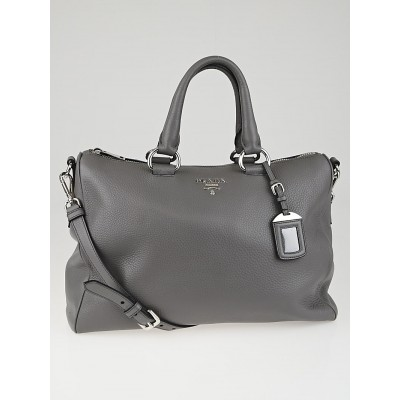 Prada Grey Vitello Daino Leather Top Handle Bauletto Tote Bag BL778M