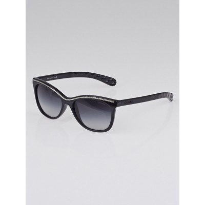 Chanel Black Frame Cat-Eye Chain Sunglasses 6041
