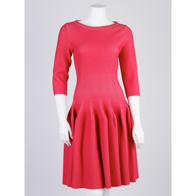 Alaïa Framboise Long Sleeve Pleated Dress Size 6/40