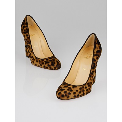 Christian Louboutin Leopard Print Pony Hair Ron Ron Zeppa Wedges Size  8/38.5
