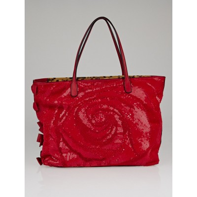 Valentino Garavani Red Nappa Leather Rose Sequin Couture Tote Bag