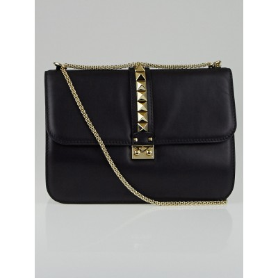 Valentino Black Calfskin Leather Rockstud Glam Lock XL Flap Bag