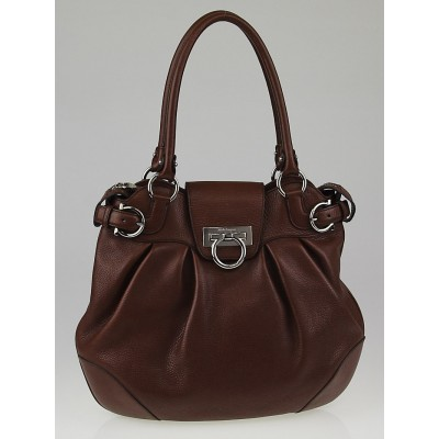Salvatore Ferragamo Brown Calfskin Leather Vittoria Shoulder Bag
