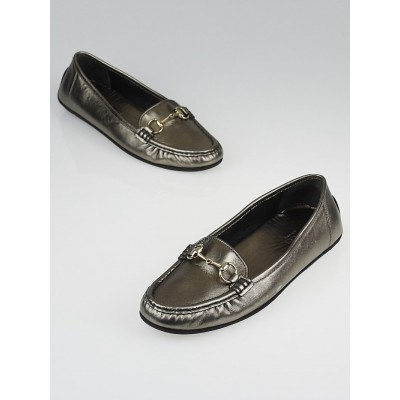 Gucci Silver Leather Horsebit Driving Loafers Size 6/36.5