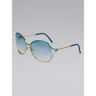 Gucci Blue/Gold Gradient Tint Oversize Frame GG Sunglasses-2846/S