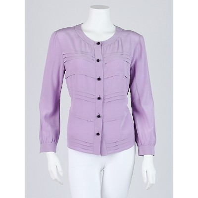 Prada Lavender Silk Long Sleeve Blouse Size 8/42