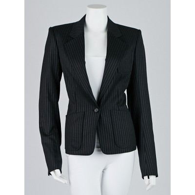 Yves Saint Laurent Black Pinstripe Wool Blazer Jacket Size 8/40