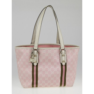 Gucci Pink/White GG Canvas Jolicoeur Stripe Medium Tote Bag