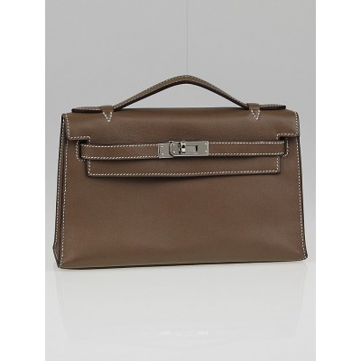 Hermes Etoupe Swift Leather Palladium Plated Kelly Pochette Bag