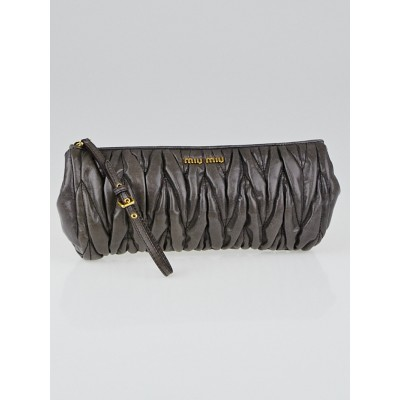 Miu Miu Dark Grey Matelasse Lux Leather Wristlet Clutch Bag