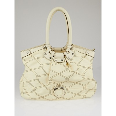 Salvatore Ferragamo Cream Quilted Calfskin Leather Large Celtico Shoulder Bag