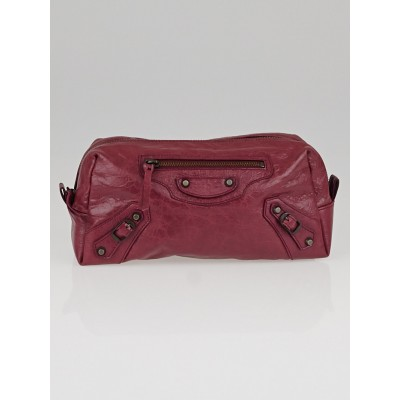 Balenciaga Cassis Lambskin Leather Pencil Case M
