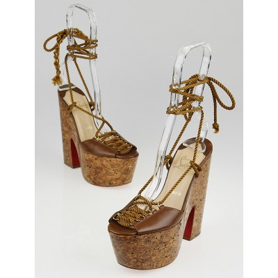 Christian Louboutin Brown Leather Jerry 160 Lace-up Sandals Size 8/38.5