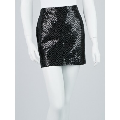 Chanel Black Sequin Mini Skirt Size 10/42