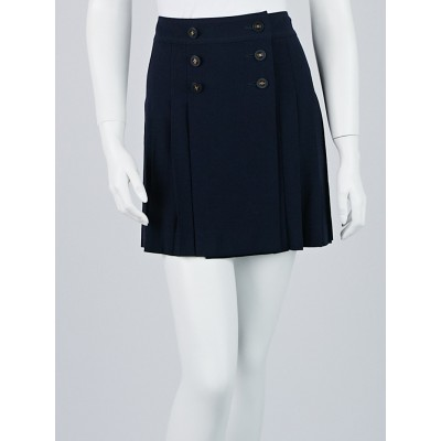 Chanel Navy Blue Wool Pleated Mini Skirt Size 8/40