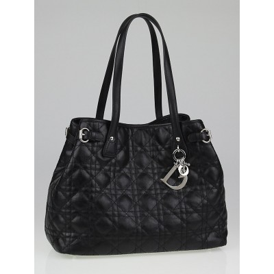 Christian Dior Black Cannage Quilted Coated Canvas Small Panarea Tote Bag