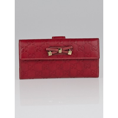 Gucci Red Guccissima Leather Princy Long Wallet