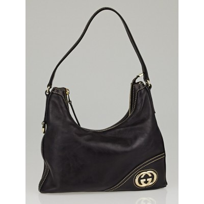 Gucci Black Leather Small Hobo Bag