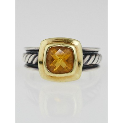 David Yurman Sterling Silver and 18k Gold Citrine Ring Size 7
