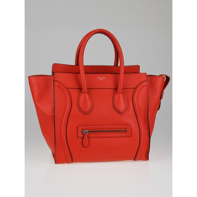 Celine Vermillion Drummed Leather Mini Luggage Tote Bag