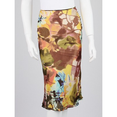 Christian Dior Multicolor Floral Silk Skirt Size 4