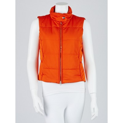 Hermes Orange Puffer Sleeveless Vest Size S