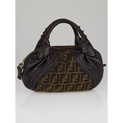Fendi Tobacco Zucca Print and Brown Leather Baby Spy Bag