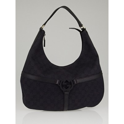 Gucci Black GG Denim Reins Hobo Bag