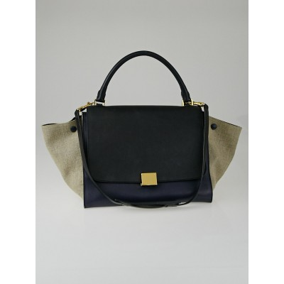 Celine Blue/Black Leather Natural Canvas Tricolor Small Trapeze Bag