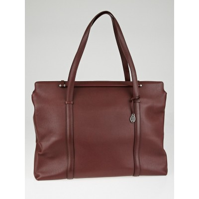 Cartier Burgundy Calfskin Leather Cabochon Travel Tote Bag