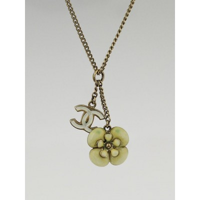 Chanel Goldtone Chain and White Enamel Camellia Flower CC Pendant