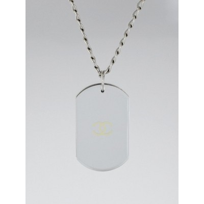 Chanel Silvertone Chain Mirrored CC Dog Tag Necklace