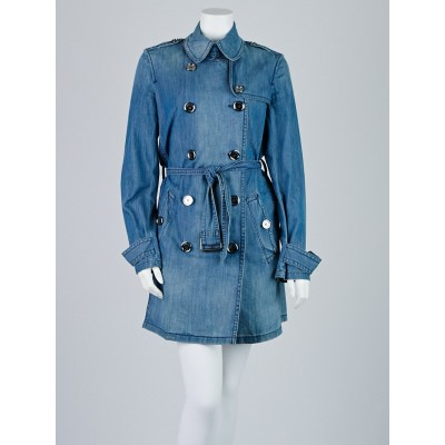 Burberry Brit Blue Denim Cotton Double Breasted Belted Trench Coat Size 10