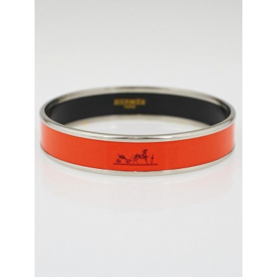 Hermes Orange Enamel Palladium Plated Narrow Caleche Bracelet Size 65