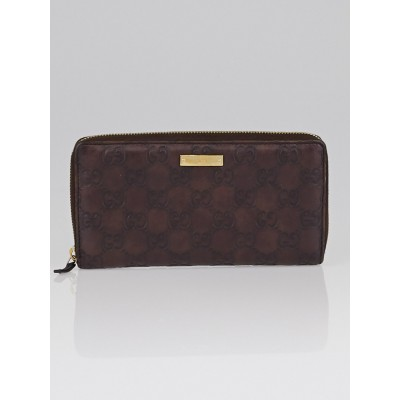 Gucci Dark Brown Guccissima Leather Zippy Long Wallet