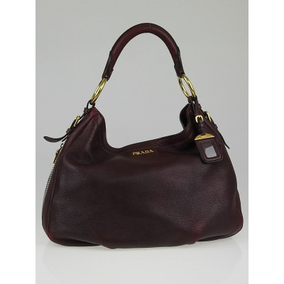 Prada Burgundy Leather Zippers Hobo Bag