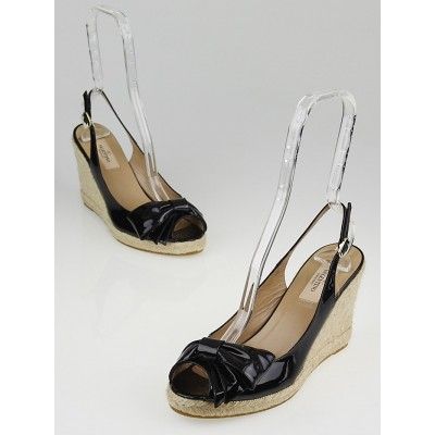 Valentino Black Patent Leather Espadrille Slingback Wedges Size 8.5/39
