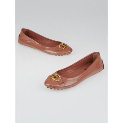 Louis Vuitton Rose Velours Patent Leather Oxford Ballet Flats Size 5/35.5