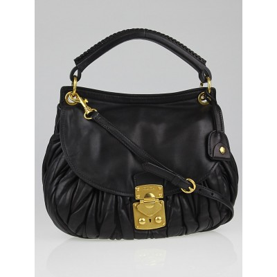 Miu Miu Black Matelasse Lambskin Leather 2-Way Shoulder Bag RR1770