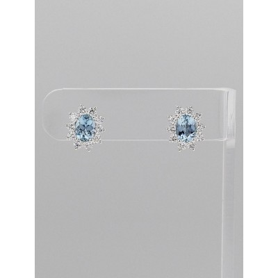 Tiffany & Co. Oval Aquamarine and Diamond Stud Earrings