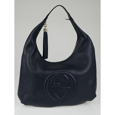 Gucci Navy Blue Pebbled Leather Soho Hobo Bag