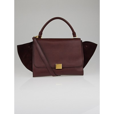 Celine Burgundy Smooth Leather and Suede Small Trapeze Bag