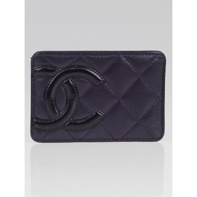 Chanel Purple Ligne Cambon Quilted Leather Card Holder
