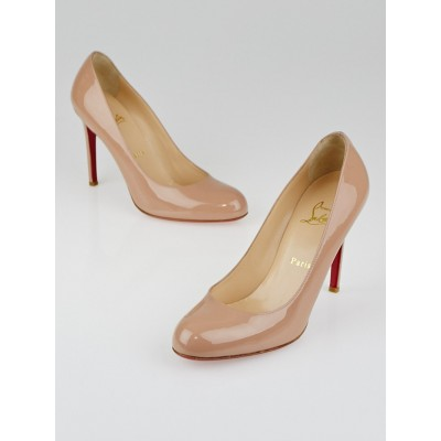 Christian Louboutin Nude Patent Leather Simple 100 Pumps Size 8/38.5