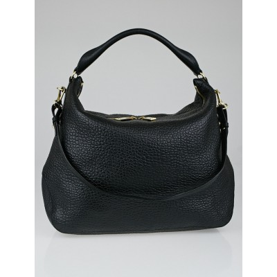 Burberry Black Signature Grain Leather Hobo Bag