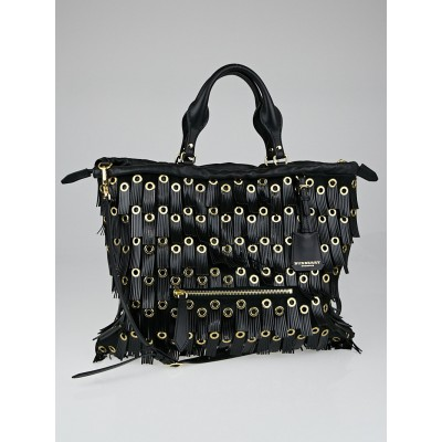 Burberry Black Pony Hair with Leather Fringed Eyelets The Big Crush Bag
