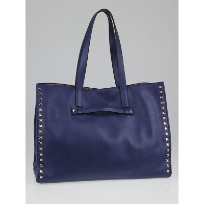 Valentino Navy Blue Leather Rockstud Shopping Tote Bag