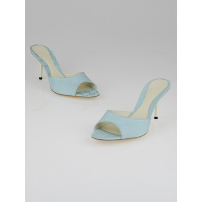 Gucci Blue GG Canvas Peep-Toe Slide Mule Sandals Size 7.5/38