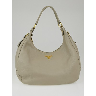 Prada Pomice Vitello Daino Leather Zip Top Hobo Bag BR4311